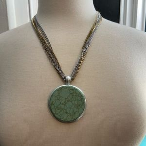 Multi Chain Faux Turquoise Necklace